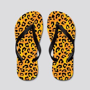b40917fce56a2f Leopard Print Spot Pattern Orange Yellow Flip Flop