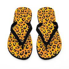 Leopard Print Spot Pattern Orange Yellow Flip Flop