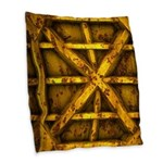 Rusty Shipping Container - yellow Burlap Throw Pil