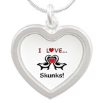 I Love Skunks Silver Heart Necklace