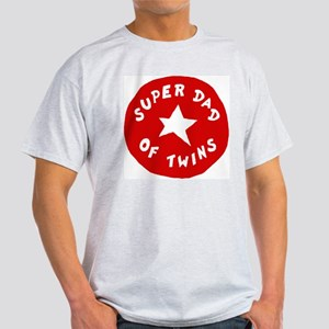 SUPER DAD OF TWINS Ash Grey T-Shirt