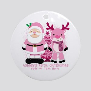 Personalize Pink Santa And Reindeer Ornament (Roun