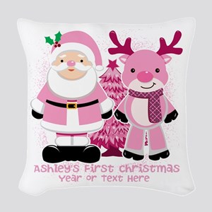 Personalize Pink Santa And Reindeer Woven Throw Pi