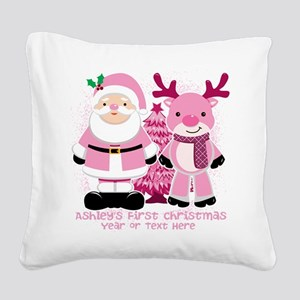 Personalize Pink Santa and Reindeer Square Canvas