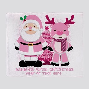 Personalize Pink Santa And Reindeer Throw Blanket