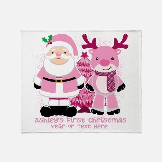 Personalize Pink Santa And Reindeer Throw Blanket