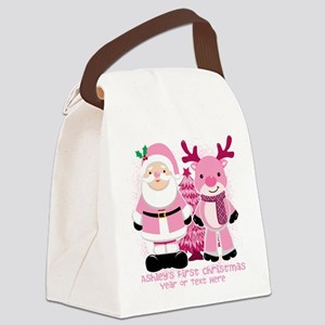 Personalize Pink Santa and Reindeer Canvas Lunch B