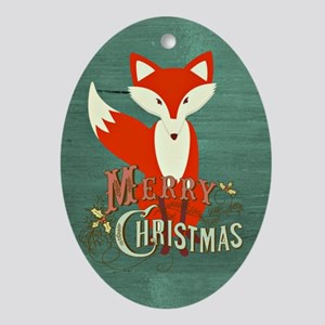 Teal Christmas Fox Oval Ornament