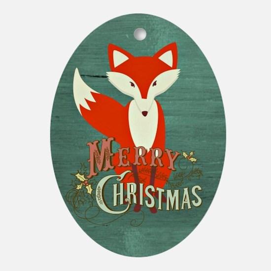 Teal Christmas Fox Oval Ornament