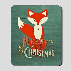 Teal Christmas Fox Mousepad