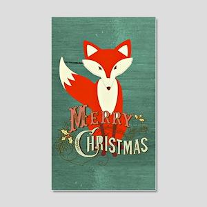 Teal Christmas Fox 20x12 Wall Decal