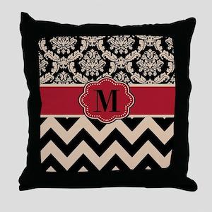 Red Tan Damask Chevron Throw Pillow