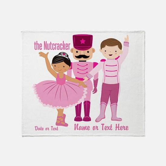 Personalize Pink Nutcracker Throw Blanket