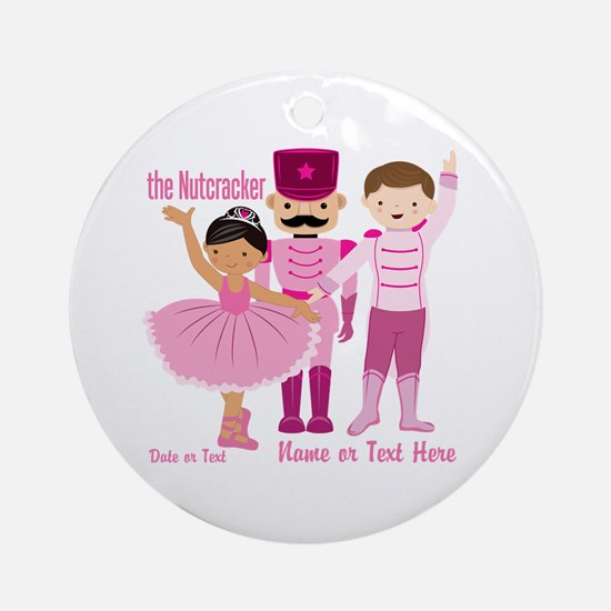 Personalize Pink Nutcracker Ornament (Round)