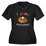 I Love Pancakes Women's Plus Size V-Neck Dark T-Sh