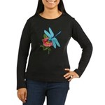 Dragonfly & Wild Rose Women's Long Sleeve Dark T-S