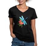 Dragonfly & Wild Rose Women's V-Neck Dark T-Shirt