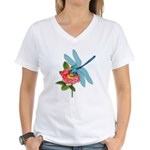 Dragonfly & Wild Rose Women's V-Neck T-Shirt