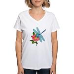 Dragonfly & Wild Rose Women's V-Neck T-Shirt