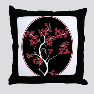 Oriental inspired blossom tree design Throw Pillow