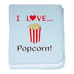 I Love Popcorn baby blanket