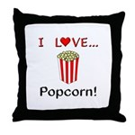 I Love Popcorn Throw Pillow