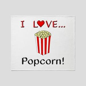 I Love Popcorn Throw Blanket