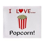 I Love Popcorn Throw Blanket