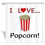 I Love Popcorn Shower Curtain