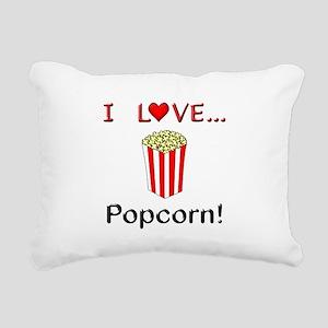 I Love Popcorn Rectangular Canvas Pillow