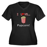 I Love Popcorn Women's Plus Size V-Neck Dark T-Shi