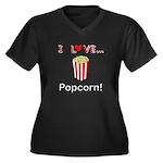 I Love Popcorn Women's Plus Size V-Neck Dark T-Shi
