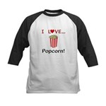 I Love Popcorn Kids Baseball Jersey