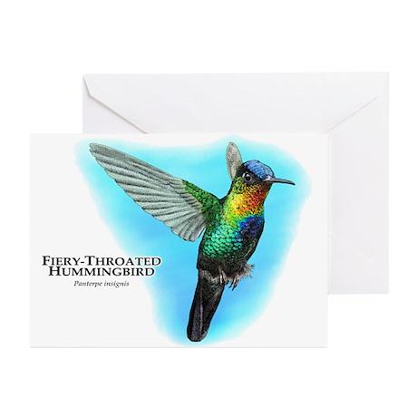 Fiery-Throated Hummingbird Greeting Cards (Pk of 1