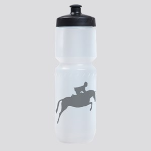 jumper rider white Sports Bottle