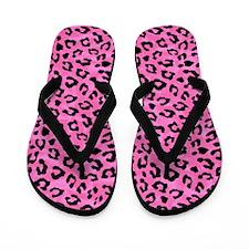 Leopard Print Spot Pattern Pink and Black Flip Flo