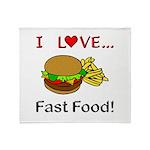 I Love Fast Food Throw Blanket