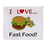 I Love Fast Food Throw Blanket