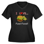 I Love Fast Food Women's Plus Size V-Neck Dark T-S