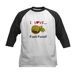 I Love Fast Food Kids Baseball Jersey