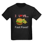 I Love Fast Food Kids Dark T-Shirt