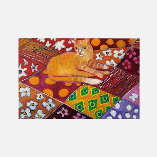 Cat on Quilt Rectangle Magnet