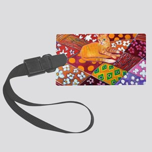 Cat on Quilt Large Luggage Tag