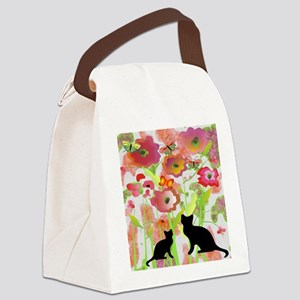Cats and Butterflies Watercolor Canvas Lunch Bag
