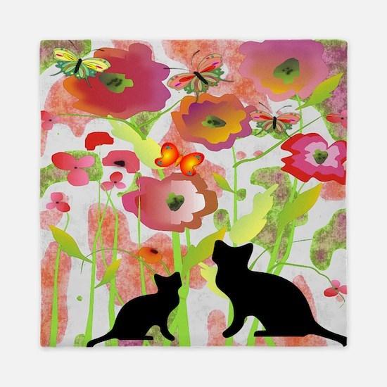 Cats and Butterflies Watercolor Queen Duvet