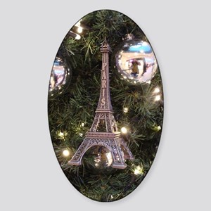 Christmas Ball with Paris Sticker (Oval)