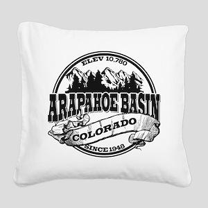A-Basin Old Circle Black Square Canvas Pillow