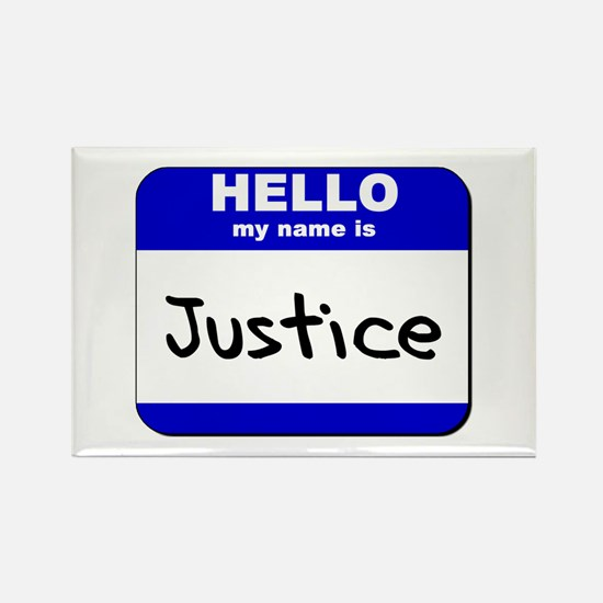 hello my name is justice Rectangle Magnet