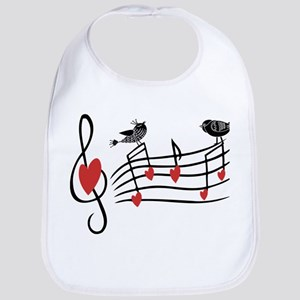 Cute Musical notes and love Birds Bib