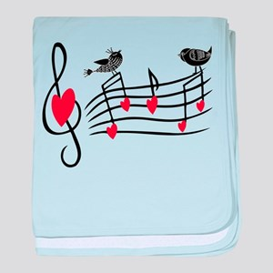 Cute Musical notes and love Birds baby blanket